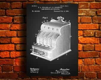 Cash Register and Indicator Patent Poster, Viintage Register Art, Cash Rgister Print, Antique Store Counter, Industrial Wallart, Shop Decor