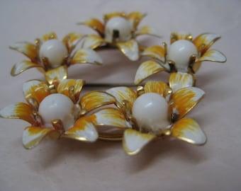 Flower Orange White Gold Brooch Vintage Pin Austria