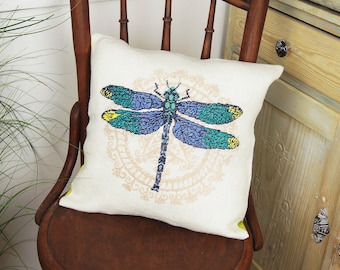 Cross stitch kit DRAGONFLY  cross stitch,needlepoint,embroidery,cross stitch kits,pillows,pillow cover,cushions,scandinavian,anette eriksson