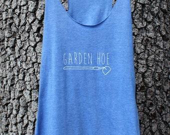 GARDEN HOE - Gardening Shirt - Yoga Top - Blue Women's Triblend Tank Top - Screenprinted S,M,L,X