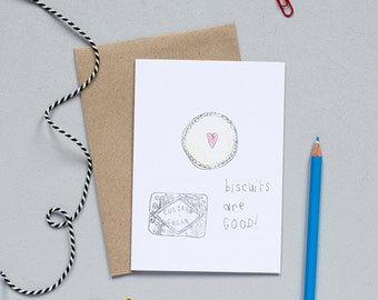 Biscuits Greetings Card - Funny Card - Card for Biscuits Fan - Custard Cream Card - Biscuits Birthday Card - Illustrated Card