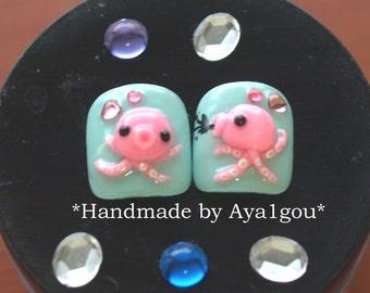 Octopus nails, kawaii nails, toe nails,  mint nails, squid, whimsical, unique nail, 3D nail,  tentacle, nautical, Japanese nail, animal nail