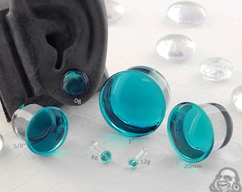 "Single Flare Turquoise Dome Plugs 12g, 10g, 8g, 6g, 4g, 2g, 1g, 0g, 9mm, 10mm, 7/16"", 12mm, 13mm, 9/16"", 5/8"", 18mm, 20mm, 7/8"", 1"""