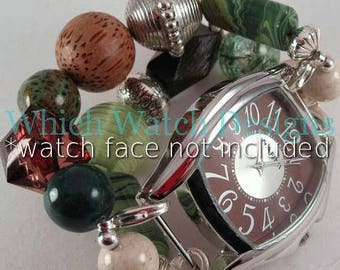 Forest Floor.. Chunky Dark Green and Brown Interchangeable Beaded Watch Band, Smart Watch