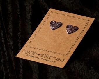 Metallic Pink: heart shaped leather earring, pair of leather heart stud earrings, handmade leather jewelry