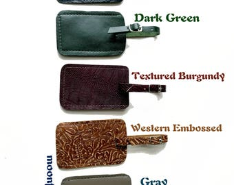 Choose Your Favorite Color - Genuine Leather Luggage Tag:  Black Ostrich Embossed, Dark Green, Textured Burgundy, Western Embossed, or Gray