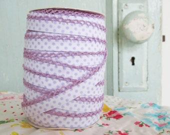 Lilac on White Polka Dot Double Fold Crochet Edge Bias Tape (No. 212)