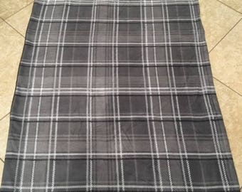 Gray plaid fleece blanket