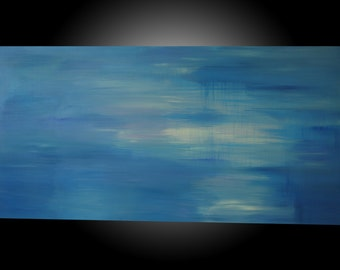 "I got the Blues, Baby.  Original Abstract Acrylic painting.  Blues, purples, white-24""x48""x1.5."