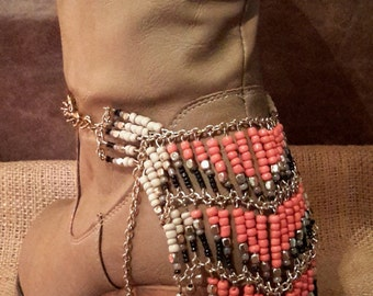 COUNTRY GIRL BOOT jewelry!  Set. Coral and black beads, gold chain.  Tribal. Striking addition to your boots!  Great gift!