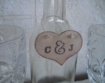 Wine Bottle Charms - SET OF 10 Personalized Rustic Wood Heart Wine Bottle Charms -  Item WB1141