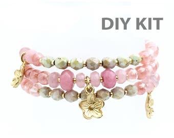 Jewelry DIY Kit, Bracelet Kit, Pink Pale Green, Multistrand Memory Wire Bracelet, Coil Bracelet, Pink Charm Bracelet, Rose Quartz Bracelet