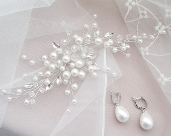 PEARL STAR | Pearl headpiece bridal hair vine crystal wedding hairpiece