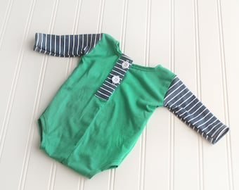 After School Clubhouse - newborn long sleeve body suit romper in kelly green jade knit with navy blue and white stripes and buttons (RTS)