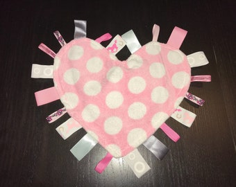 Tag Blankie - Heart Shaped with Pink Horses