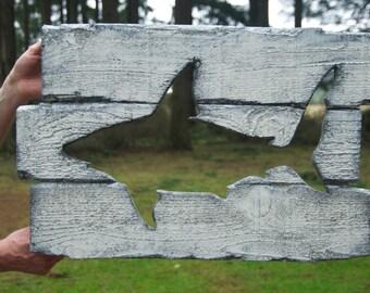 Rustic custom made shark wood working wall art