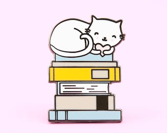 Cats and Books Pin | Book pin, cat pin