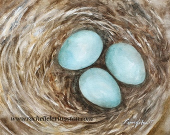 for her gift for mom nest painting Nest PRINT bird Painting of nest wall art Bird Nest Painting room decor robin egg blue mothers day