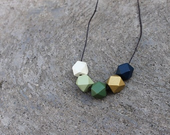Geometric Wood Necklace // Hand Painted Wooden Faceted // Hedron Necklace - Green, Gold, Navy