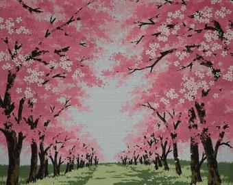 Japanese Cherry Blossom Tree Fabric Furoshiki 'Sakura Road' Pink and Green Cotton Fabric Square w/Free Insured Shipping