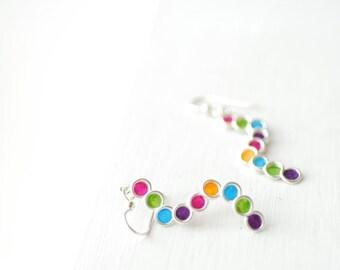 Silver Rainbow Earrings, Pop Art Jewelry, Colorful Vivid Earrings