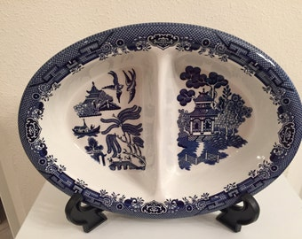 Blue Willow Divided Oval Bowl by Churchill Staffordshire England