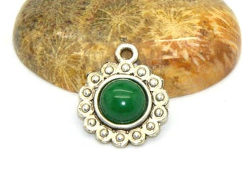 2 cabochons 08 mm agate seagreen