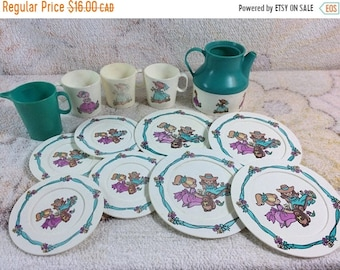 SUMMER SALE Vintage Plastic Play Tea Set Pieces Incomplete Set Girls Pretend Play Garden Party