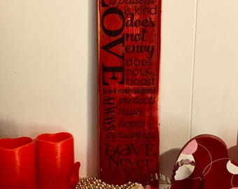 Shabby chic red scrap wood sign