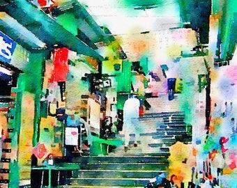 Watercolor Print - Pottinger Street - Hongkong