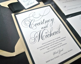 Gold, Black, Ivory Wedding Invitation- Silver, Navy, Elegant -Pretty Script (not sample listing) Colors/wording/materials Customizable