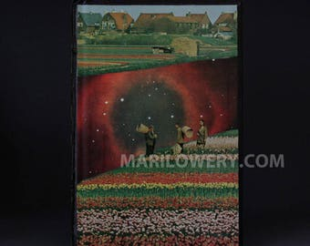 Book Cover Collage. Surreal Art, Colorful One of a Kind Paper Art with Space and Field of Tulips, 9 1/4 x 6 1/4 Inches, frighten