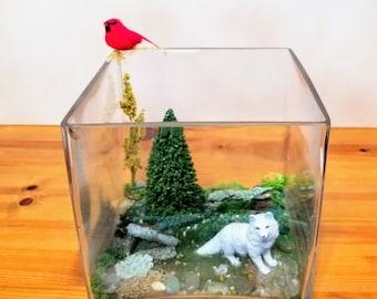 Scene Diorama with tree, wolf & cardinal
