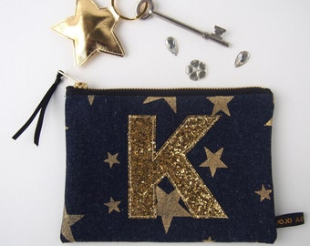 Personalised Denim And Gold Glitter Star Purse