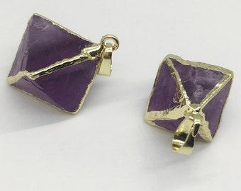 2pcs Gold Electroplated Edge Fluorite Diamond Pendant,27mm*27mm Purple Fluorite Pendant