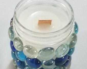 Bougie de mèche en bois - perles en verre/artisan bougie/élégant unique bougie bougie/bougie/artistique style/cool bougies artisanales