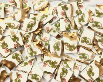 80 Limoges Floral Gold Rims Hand Cut Vintage China Tiles//Broken Dish//Mosaic Supplies//Mosaic Pieces//Craft Jewelry
