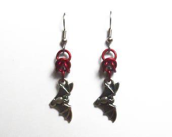 Red bat earrings, Gothic bat jewelry, Silver flying bat earrings, Bright red bats