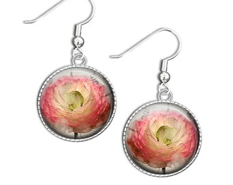 Flower Earrings, Watercolor Flower Earrings, Glass Flower Earrings, Watercolour Earrings, Flower Drop Earrings (flower 8)