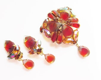 Vintage Givre Red Rhinestone Dangle Brooch Earrings signed West Germany 1950s
