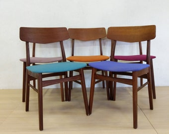 Set of 5 Vintage Danish Modern Dining Chairs - Free NYC Delivery!