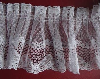 Gathered lace Strip 13.5 cm white