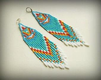 Blue white earrings Turquoise dangle earrings Boho long earrings Hippie earrings Tribal earrings Indian beaded jewelry Teacher gifts