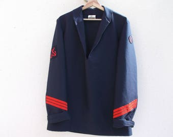 Sailor tunic size L Navy Blue with badges and Red trimmings, Toulon, France - army sailor jacket, Navy French vintage