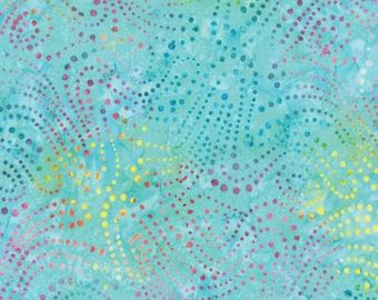 Sale! > Moda Batiks < Los Cabos Aqua 4335 11 > Fabric by the Yard < Blue pink yellow green dots Batik Fabric