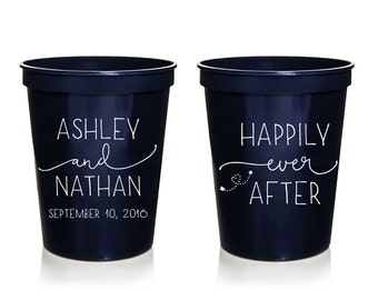 Happily Ever After Wedding Stadium Cups, Personalized Wedding Cups, Rehersal Dinner, Stadium Cup, Wedding Favor