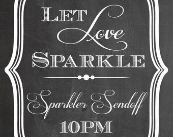 INSTANT DOWLOAD. Sparkler Sendoff Sign. Chalk board Art. Wedding Exit. PDF Dowload. Wedding Reception