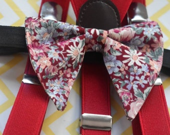 Red floral butterfly / poppy Bow Tie  for Baby, Toddlers and Boys (Kids Bow Ties) with Braces / Suspenders for wedding, church, christening