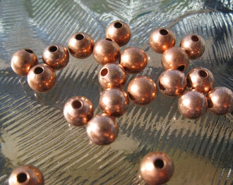 COPPER ROUND 6MM Beads 25 Pieces, Seamed Hollow beads, Ready to Ship, Made in US