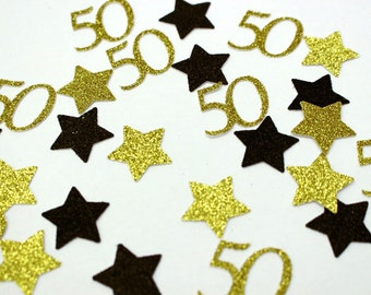 50th Party Confetti - Gold and Black - 50th Birthday Decoration - Fifty